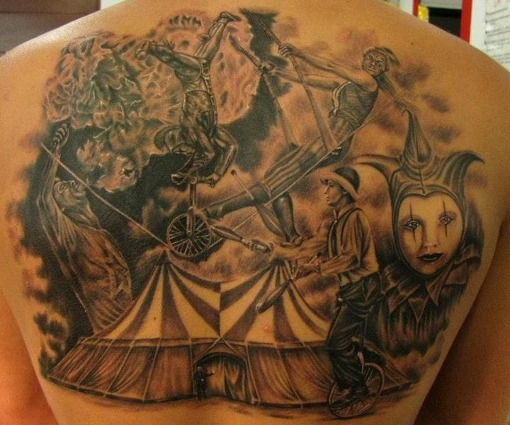 A full circus tattoo by Jhon Gutti too.