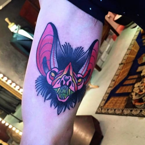Traditional Bat Head Tattoo by Mick Gore