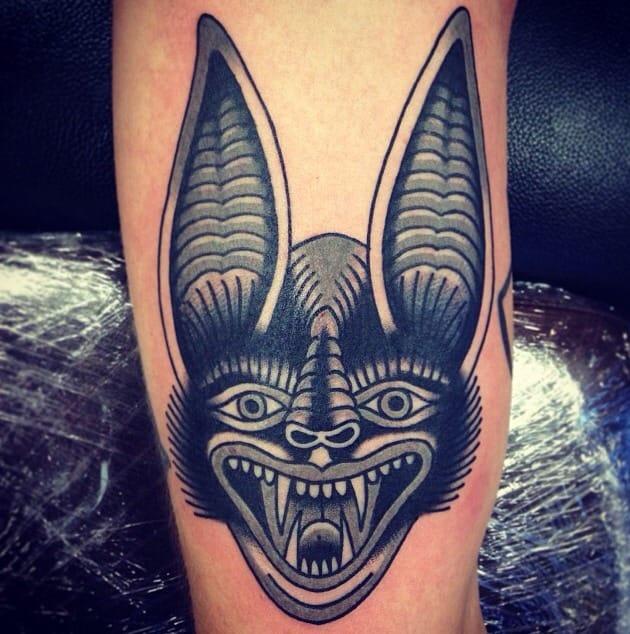 Bat Head Tattoo by Morten Transeth