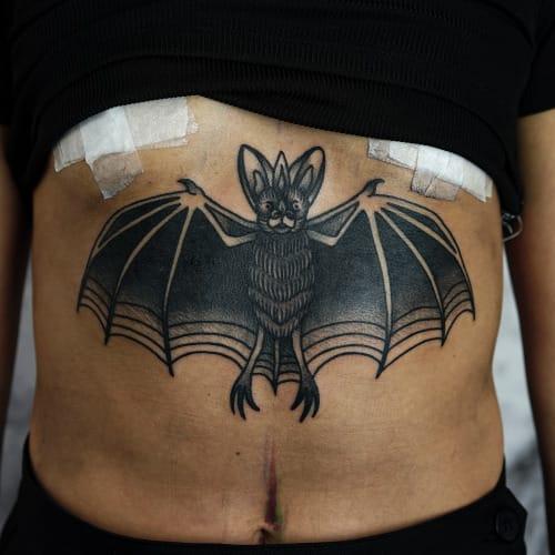 Traditional Bat Tattoo by Philip Yarnell
