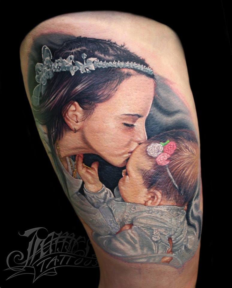 Realistic portraits are popular parenthood tattoos. By James TattooArt.