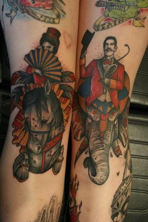 A circus couple on each leg by Mitch Allenden.