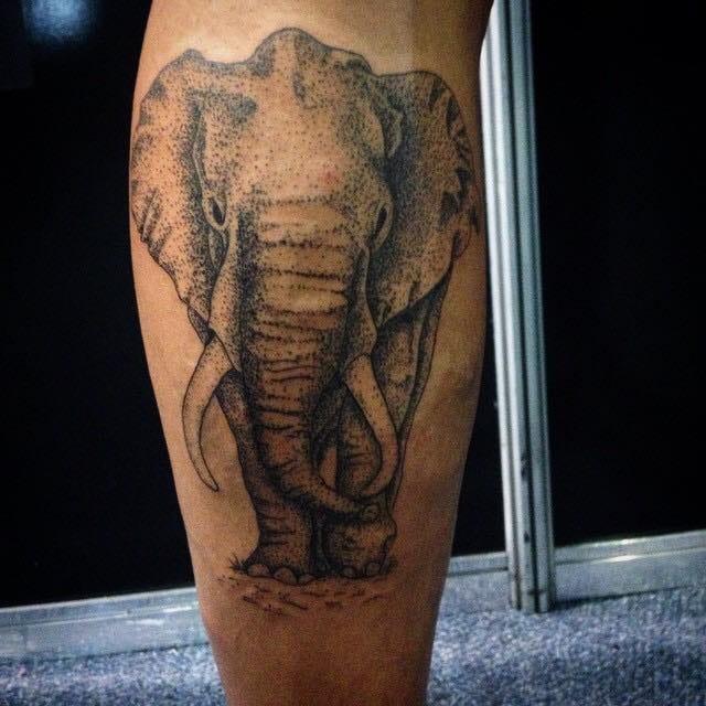 Elefante com o uso da técnica de pontilhismo