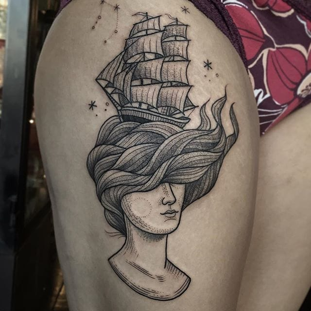 Sail Away With These Nautical Blackwork Tattoos