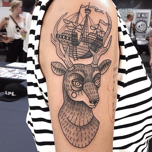 Nautical blackwork tattoo by Susanne König