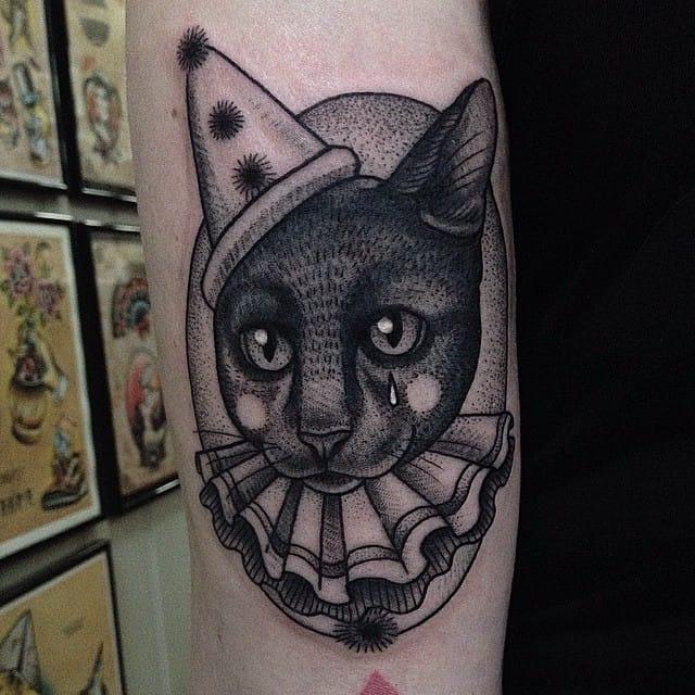 Sad clown cat tattoo #SusanneKönig