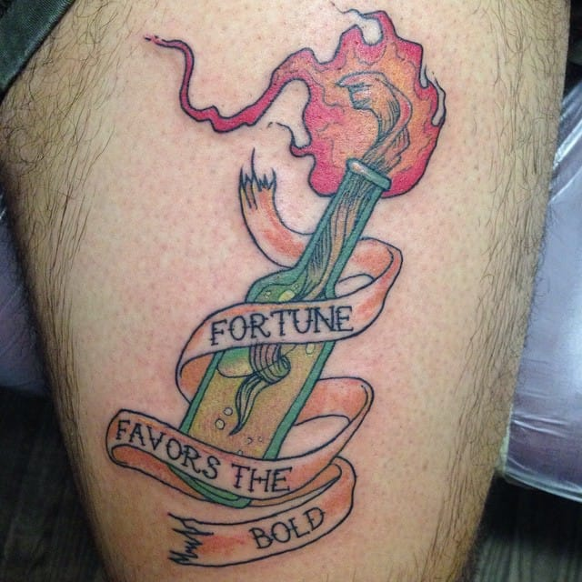 Molotov coktail tattoos are truly punk. By Stacey Baker.