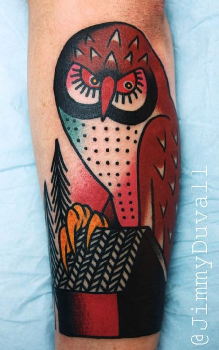 Owl tattoo by Jimmy Duvall. Photo: Instagram.