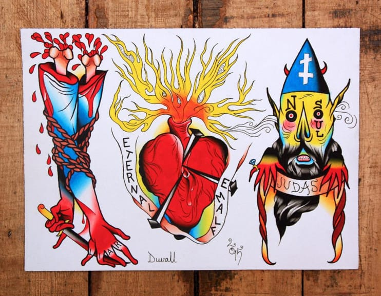 Tattoo flash by Jimmy Duvall. Photo: Instagram.