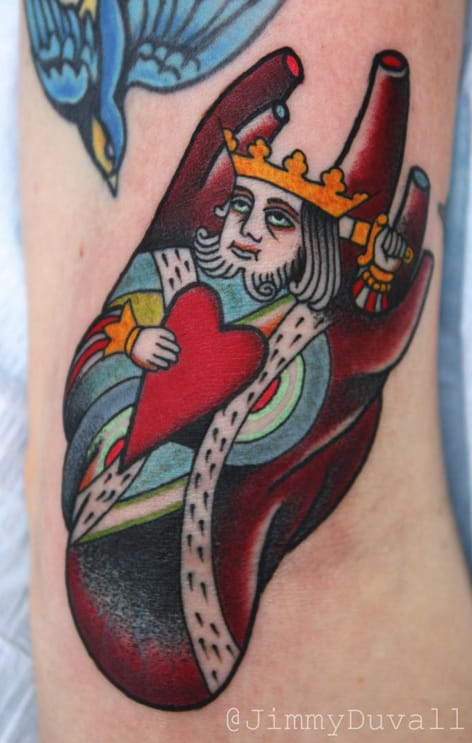 The King of Hearts. Tattoo by Jimmy Duvall. Photo: Instagram.