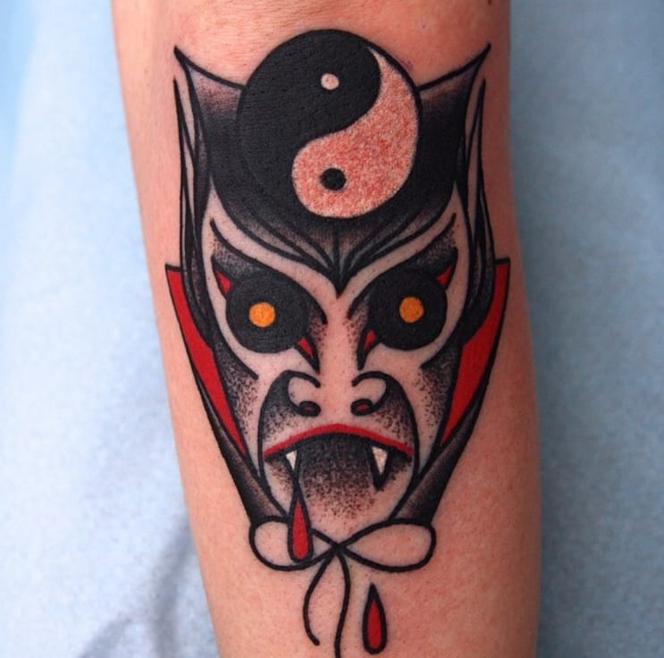 Vampire tattoo by Jimmy Duvall. Photo: Instagram.