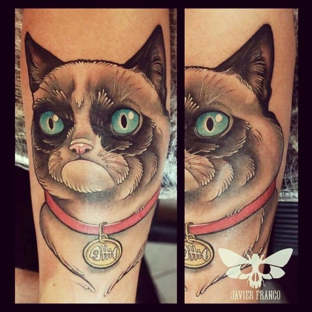 Grumpy Cat Tattoo by Javier Franco