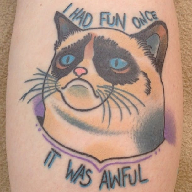 Grumpy Cat Tattoo by Joe Farrell