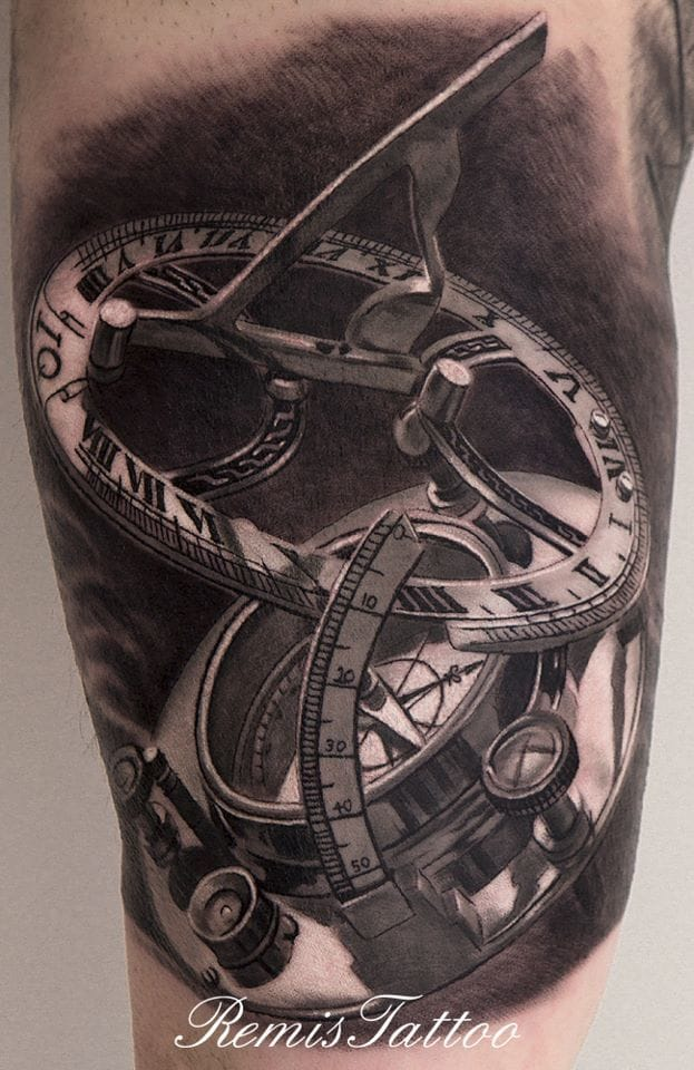 Love the black and grey realism of this sundial by Remis Cizauskas.