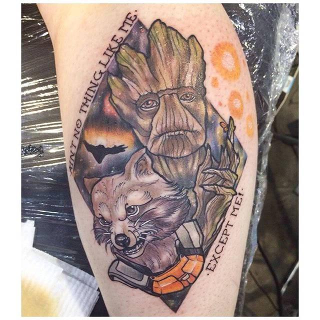 Rocket and Groot Tattoo, artist unknown