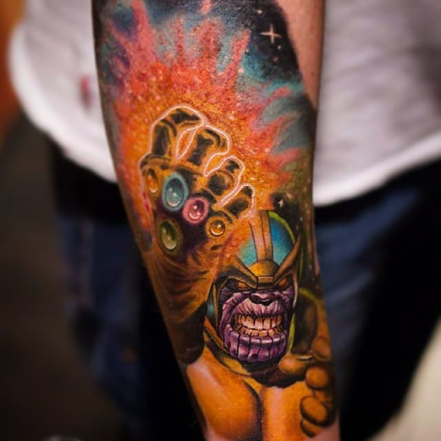 Thanos Tattoo by Adam Blakey