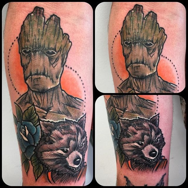 Rocket and Groot Tattoo by Cynthia Finch
