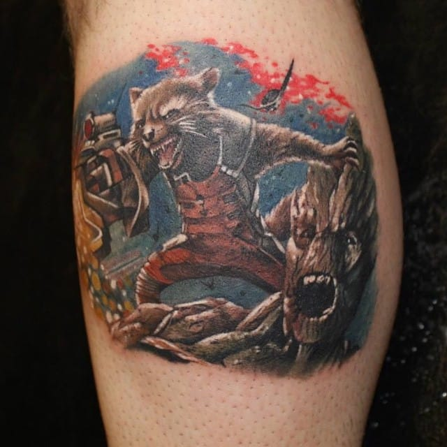 Rocket and Groot Tattoo by Josh Dixon