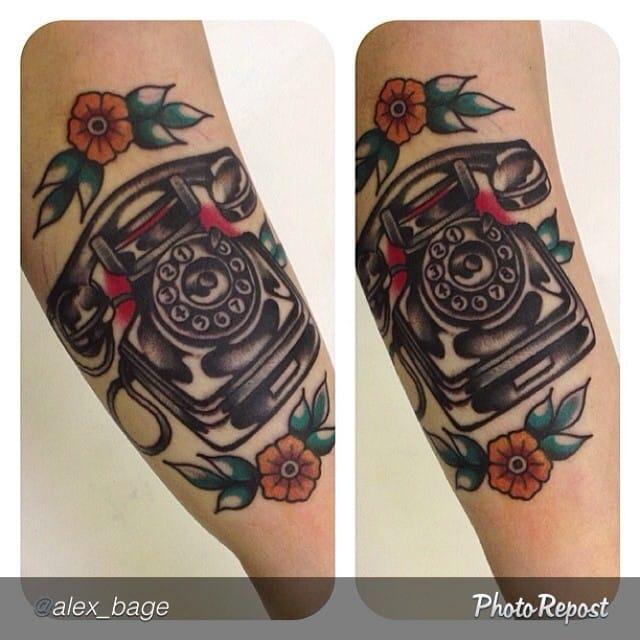 Telephone Tattoo by Alex Bage