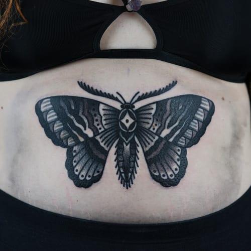 Blackwork Butterfly Tattoo by Philip Yarnell #butterfly #blackwork