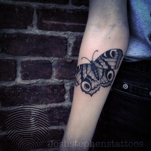 Blackwork Butterfly Tattoo by Josh Stephens #butterfly #blackwork