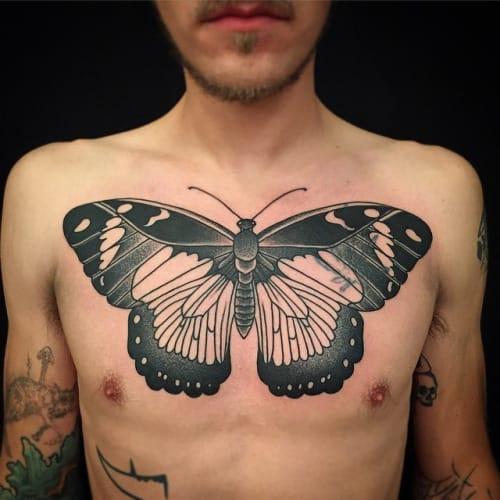 Blackwork Butterfly Tattoo by Nathan Kostechko #butterfly #blackwork