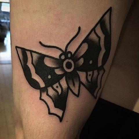 Blackwork Butterfly Tattoo by Lee Cawley #butterfly #blackwork