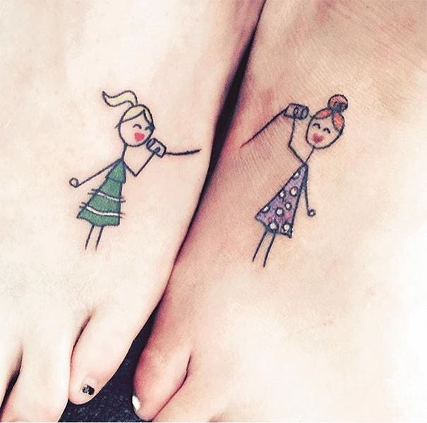 Cute tin-can string telephone tattoos to show you'll never lose touch with your sister #tincan #telephone #sisters
