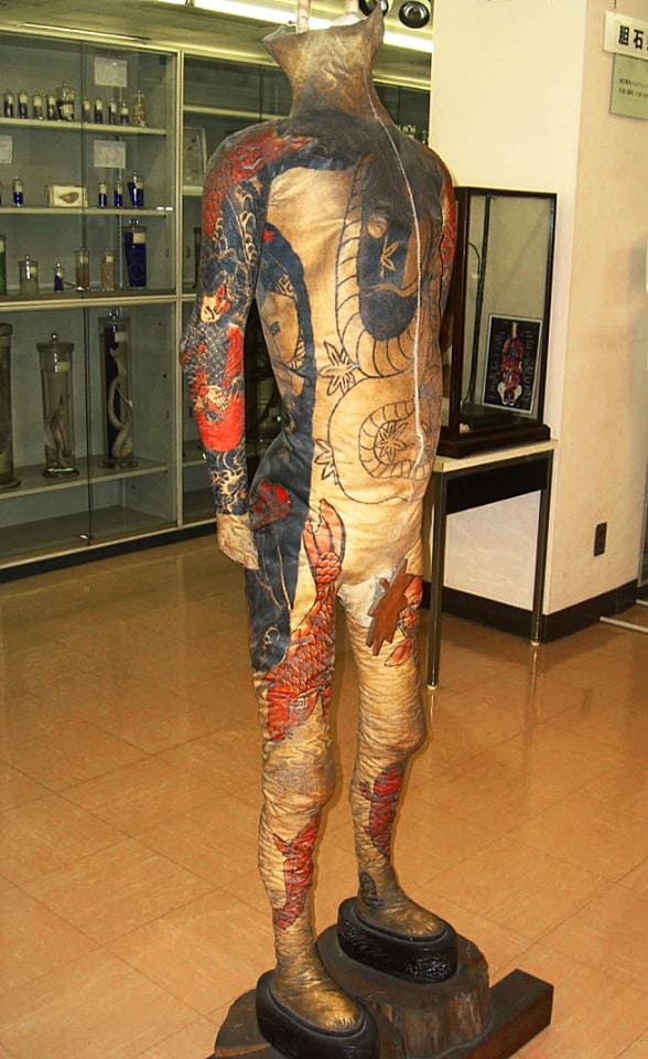 One of the skin suits on display at the Tokyo Museum