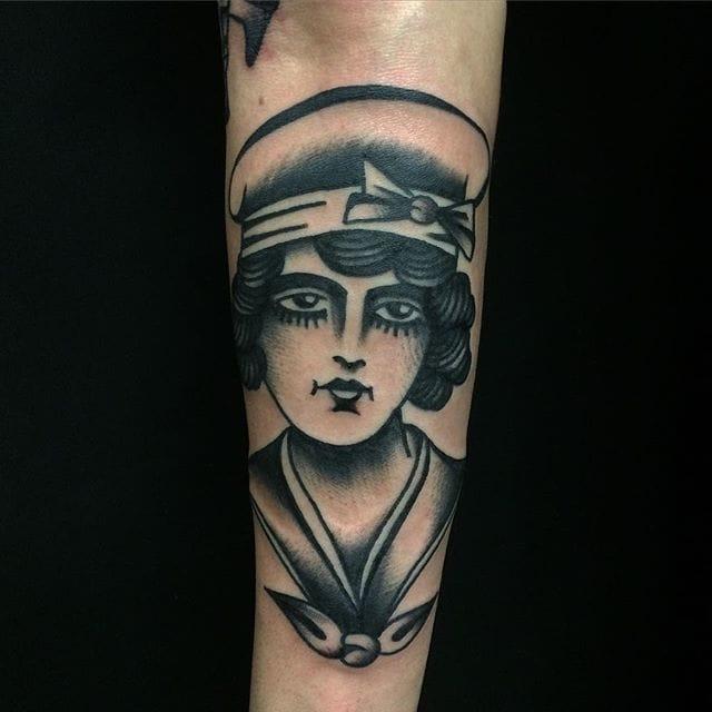 Blackwork girl tattoo #MicheleIanni