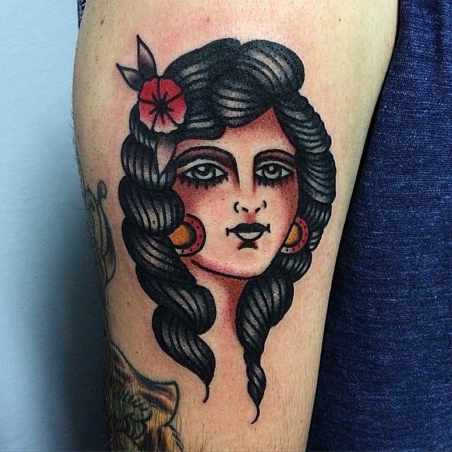 Traditional girl tattoo #MicheleIanni