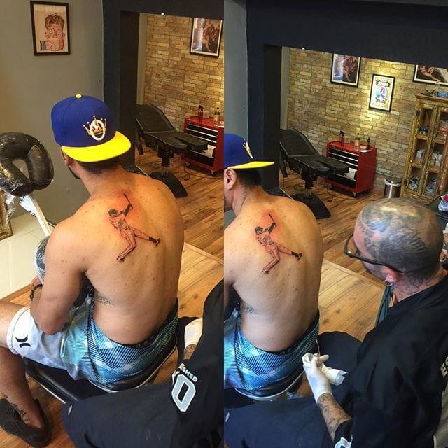 Orlando Part Way Through His Tattoo
