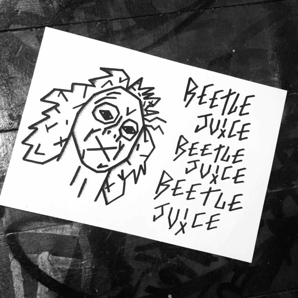 Beetlejuice tattoo design drawing by Mike Love.