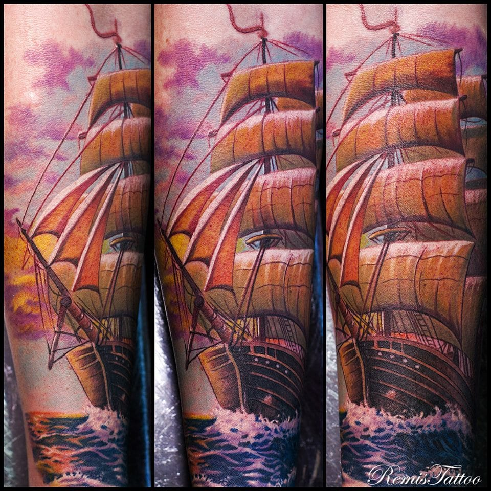 Ship tattoo by Remis Tattoo. Photo: Facebook.