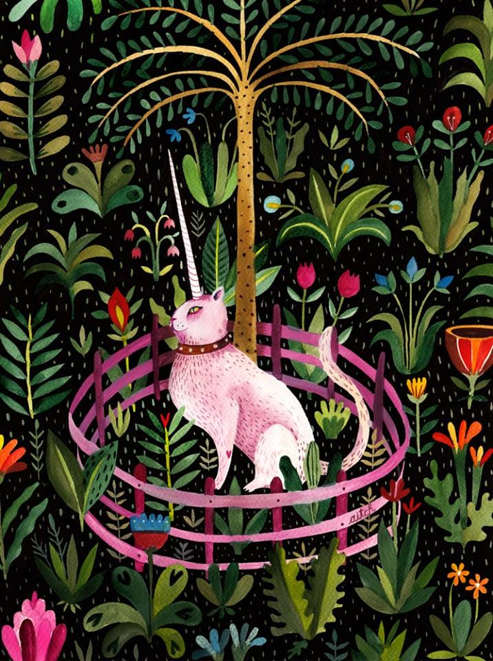Unicorncat, an illustration for Camera cu Pisici - The Cat Room who help stray cats.