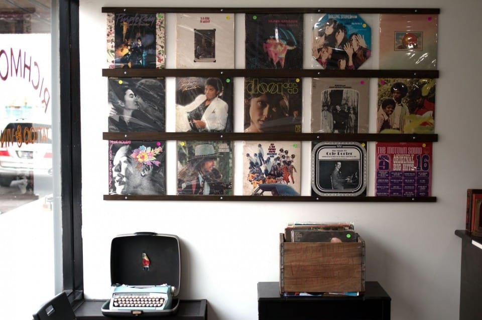 Original vinyl albums are also on sale in this artsy tattoo shop