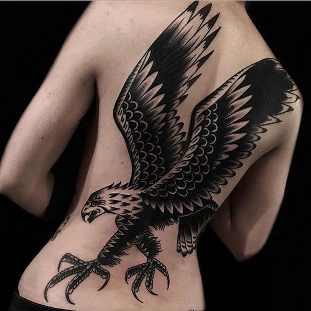 10 Powerful Blackwork Eagle Tattoos