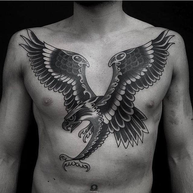Blackwork Eagle Tattoo by Gre Hale