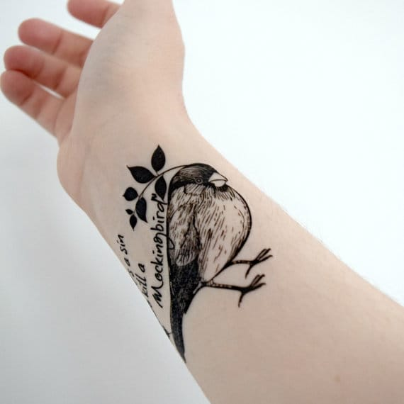 15 Mockingbird Tattoos In Honor of Literary Icon Harper Lee