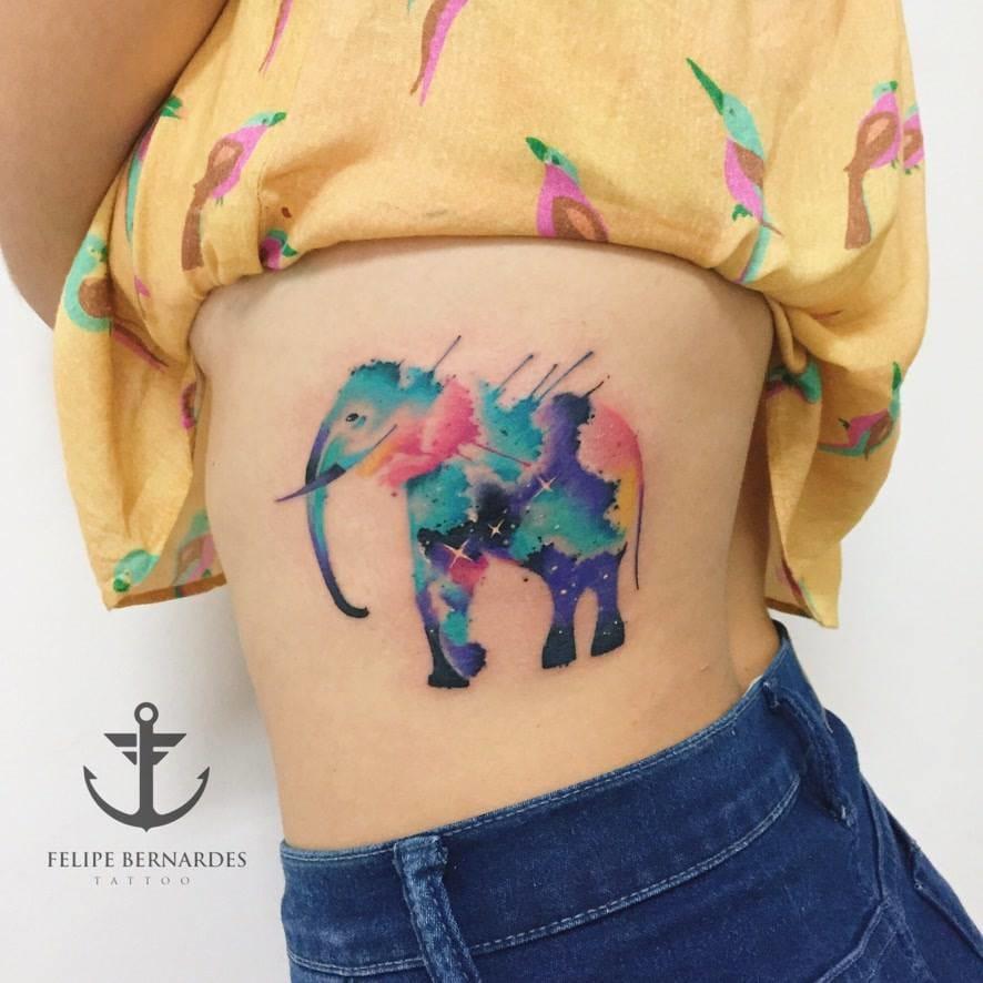 Joyful Watercolor Tattoos by Felipe Bernardes