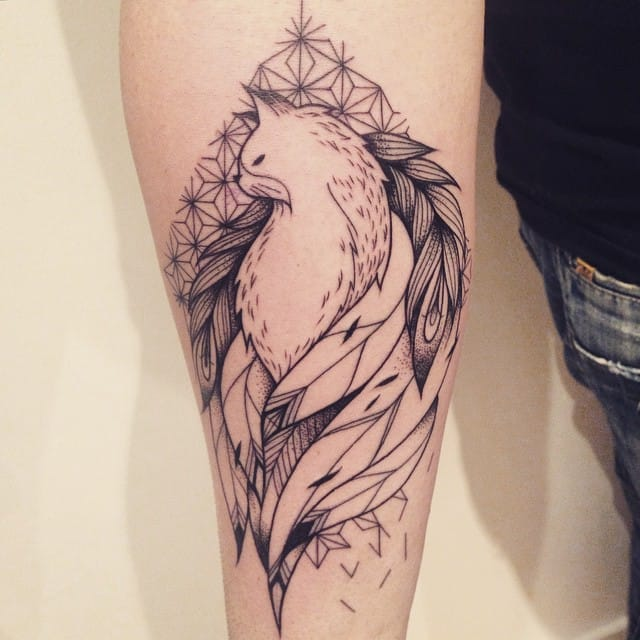 Feathery cat tattoo #SupaKitch