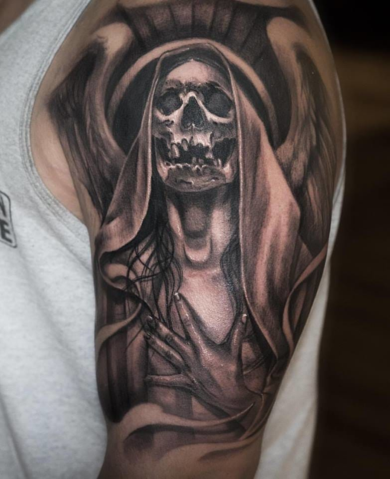 Creepy tattoo skull angel tattoo #JulienThibers
