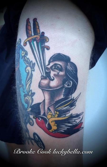 Sword Swallower Tattoo by Brooke Cook