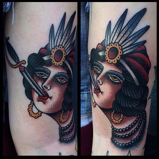 Sword Swallower Tattoo by Ivan Antonyshev