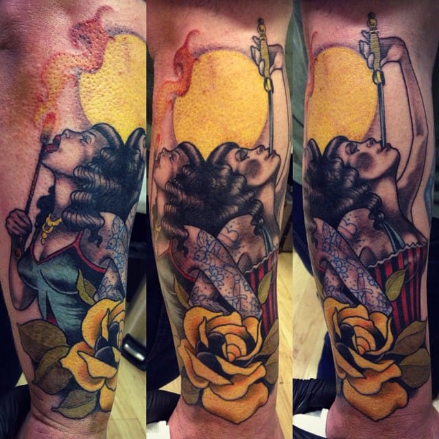 Sword Swallower Tattoo by Levi Murphy