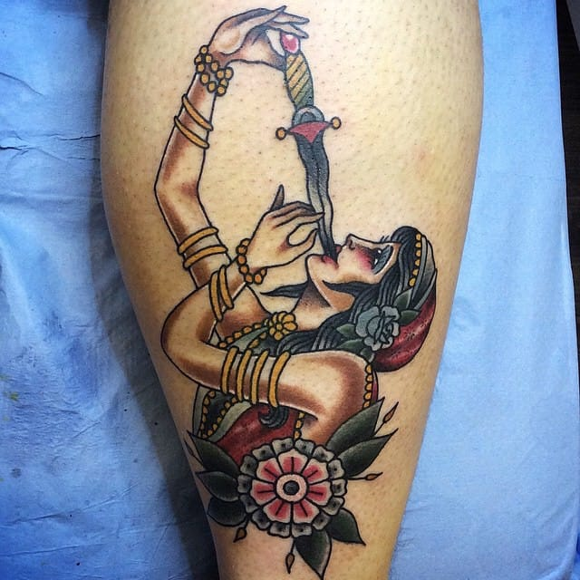 Sword Swallower Tattoo, artist unknown