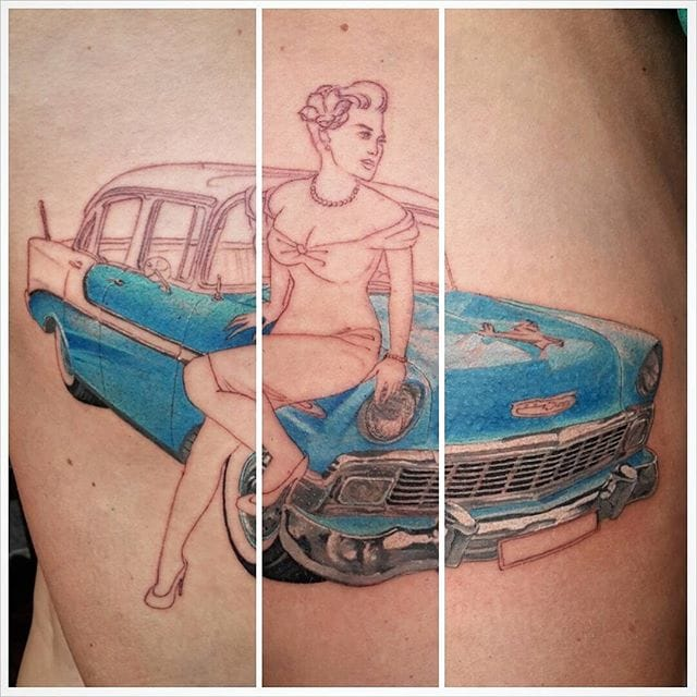 Classic Chrysler with a pin-up girl on the works! Done at the Estcado Tattoo
