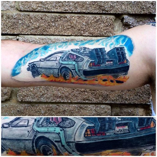 Another great DeLorean, this time with amazing colouring! by Floyd at Redeeming Tattoos