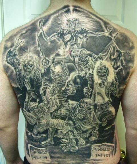 This awesome black and grey back piece shows various incarnations of Eddie through the years
