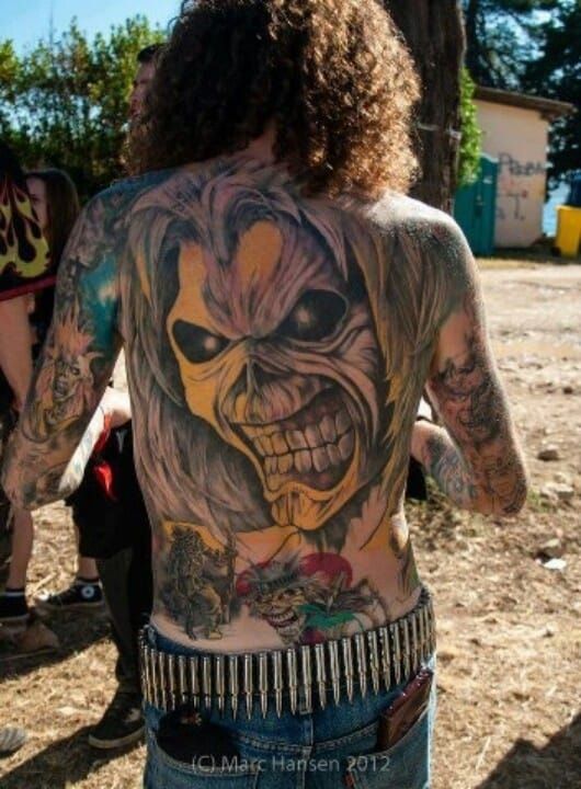 Iron maiden tattoo. This super fan seems to have a whole bunch of Eddie tattoos on his body. Photo from Marc Hansen